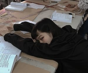 girl, asian, and books image