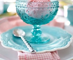ice cream, saucer, and turquoise image