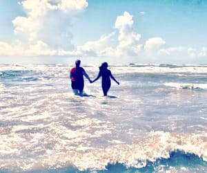 beach, besties, and clouds image