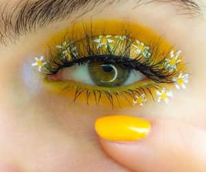 yellow, flowers, and makeup image