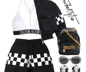 black and whit, checker print, and calvin image