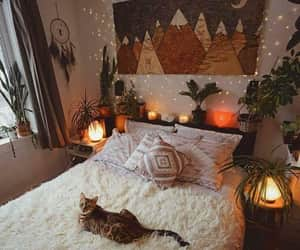 room, bedroom, and cat image