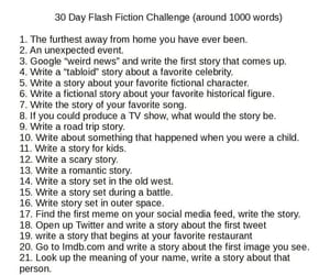 writing prompts, 30 days challenge, and writing challenge image