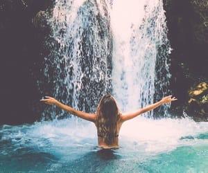 girl, tumblr, and waterfall image