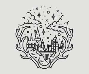 doodle, hogwarts. harry potter, and hogwarts drawing image