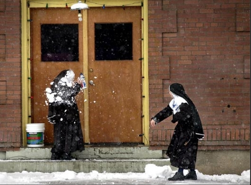 nun, funny, and snow image