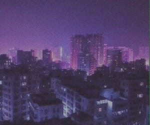 city, purple, and night image