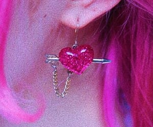 heart, earrings, and pink image