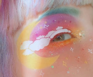 makeup, aesthetic, and rainbow image