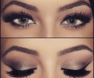 lashes, grey eyes, and make up image