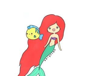 art, draw, and mermaid image