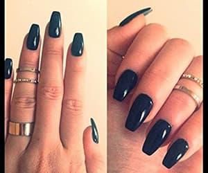 black, black nails, and fashion image