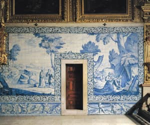 art, blue, and interior image