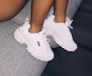 shoes, white, and Fila image