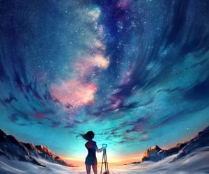 sky, stars, and art image