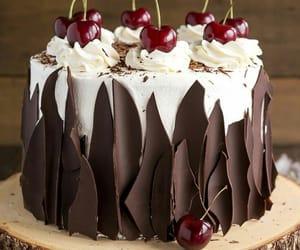 cake, chocolate, and cherry image