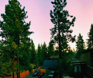 lake, lake tahoe, and pink sky image
