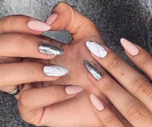 nails, manicure, and marble image