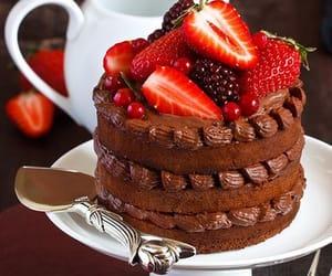 cake, comida, and fresas image