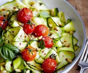 food, zucchini, and salad image