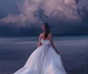 dress, beach, and moon image