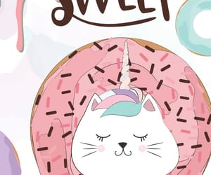 cat, donut, and unicorn image