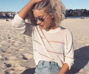 blonde hair, sea sand, and beach resort image