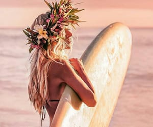 beach, surf, and flowers image