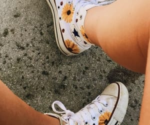 shoes, converse, and flowers image
