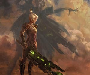art, white hair, and riven image