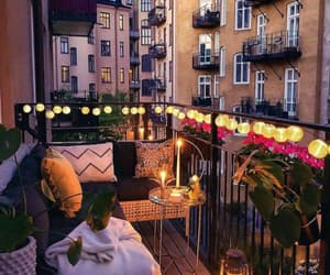 balcony, lights, and night image
