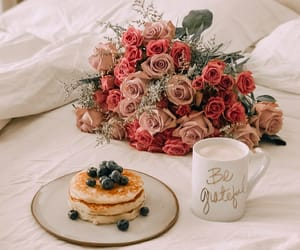 breakfast, coffee, and roses. flowers image