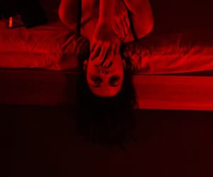 red, bed, and girl image