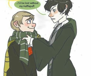 sherlock, johnlock, and harry potter image