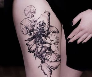 koi fish tattoo, koi ink, and thigh tattoo image
