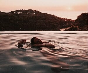 naked, nature, and swimming image
