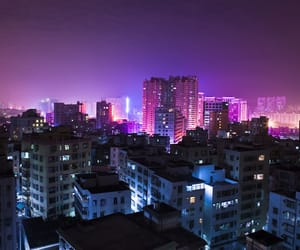 blue, night, and pink image