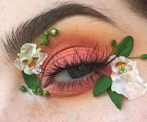 makeup, flowers, and eye image