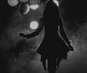 balloons night shadows, lights girl dress, and steam mystery noir image