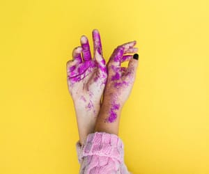 hands, paint, and yellow image
