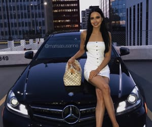 benz, brunette, and downtown image