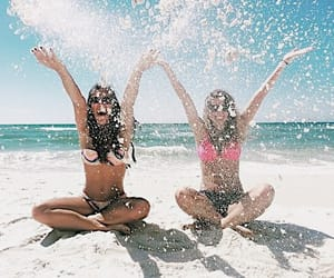 bathing suits, beach, and bff image