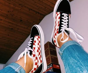 checkered, checkered vans, and outfit image