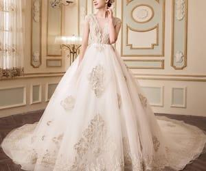 bridal, bridal gown, and elegant wedding dress image