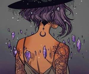 art, purple, and crystal image
