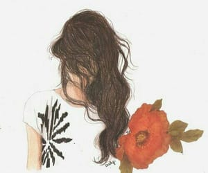 girl, hair, and flower image