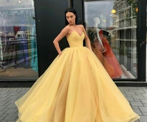 dress, yellow, and fashion image
