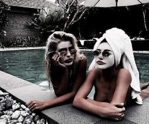 best friends, pool, and friends image
