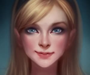 art, blonde girl, and portrait image