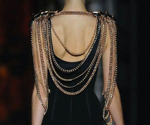 black, chains, and dress image
